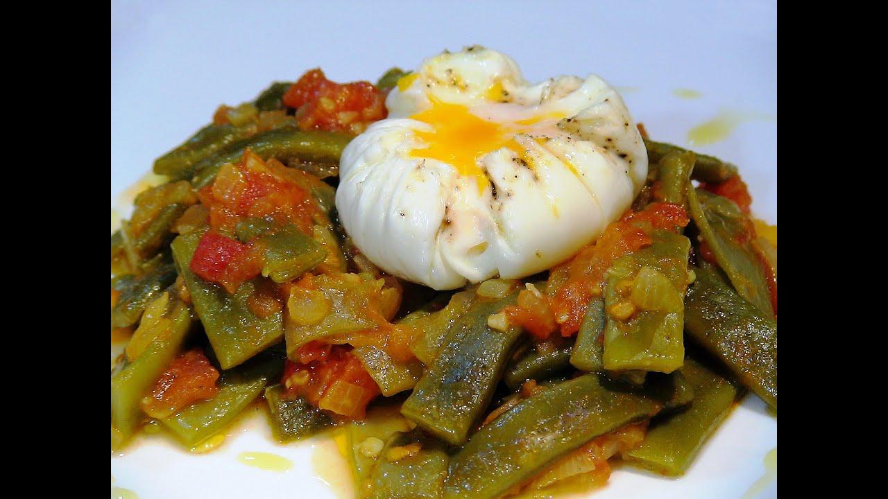 Receta judias verdes con tomate y huevo pochado recetas - Como preparar unas judias verdes ...
