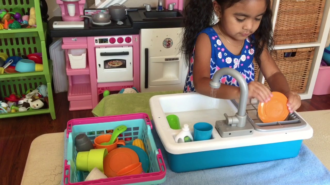 Kids Play Kitchen Sink With A Running Water Faucet Youtube