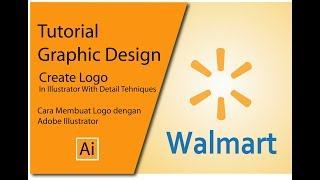 How To make Walmart Logo With Adobe Illustrator, Tutorial Create Draw Walmart Logo