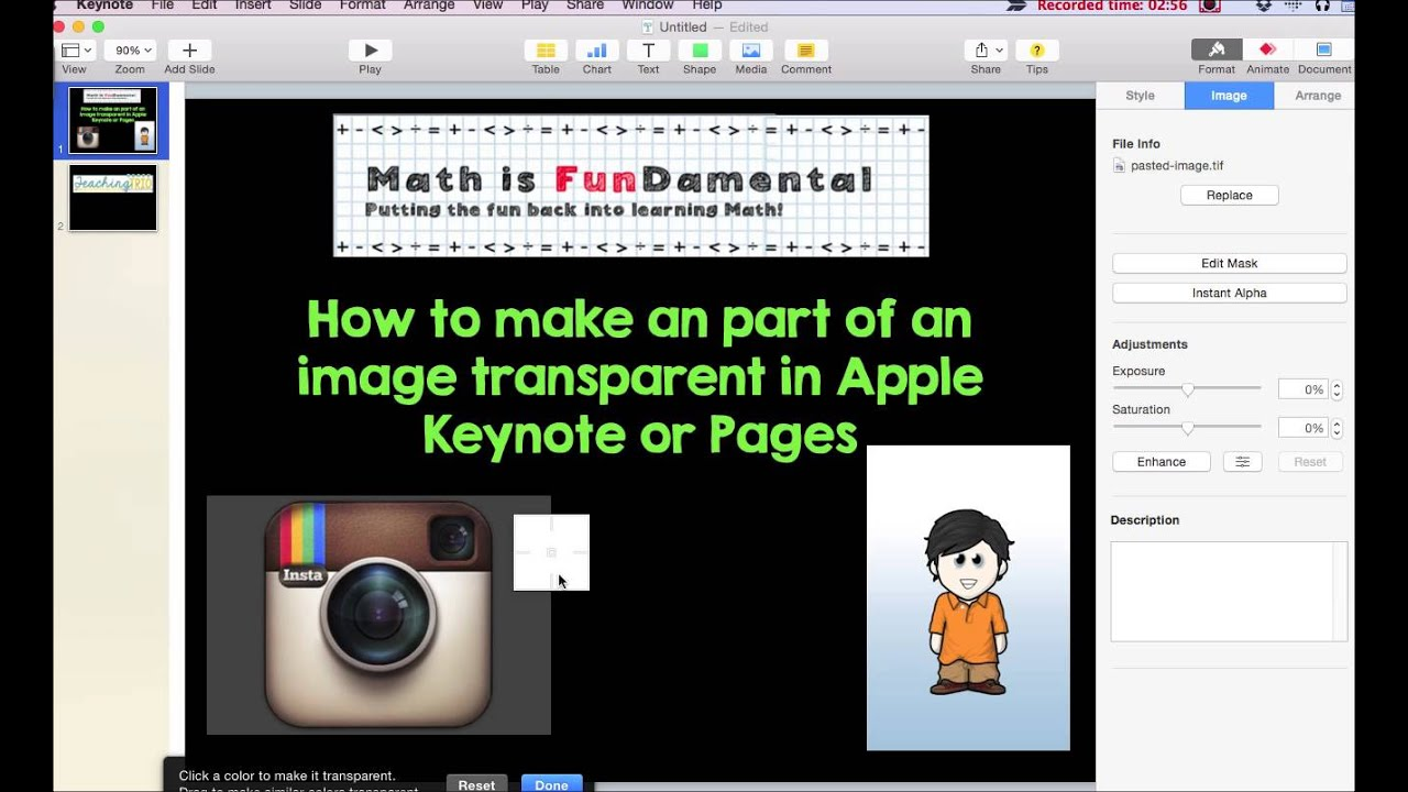 How to make a transparent background in Apple Keynote YouTube