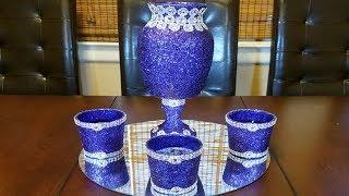 Centerpiece ideas: purple glitter and silver bling centerpiece