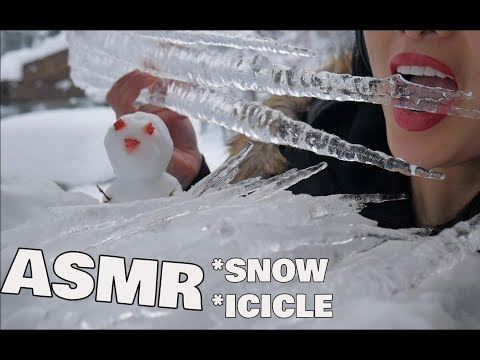 ASMR Icicle + Snow (EXTREME ICE CHEWING RELAXING EATING SOUNDS) | SAS-ASMR