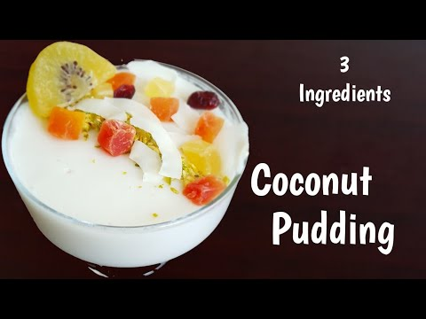 Coconut Milk Pudding Recipe | Without Gelatin| 3 Ingredients Pudding
