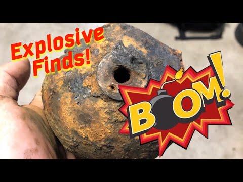 Metal Detecting And Looking For BOMBS!! Treasure Hunting Underwater
