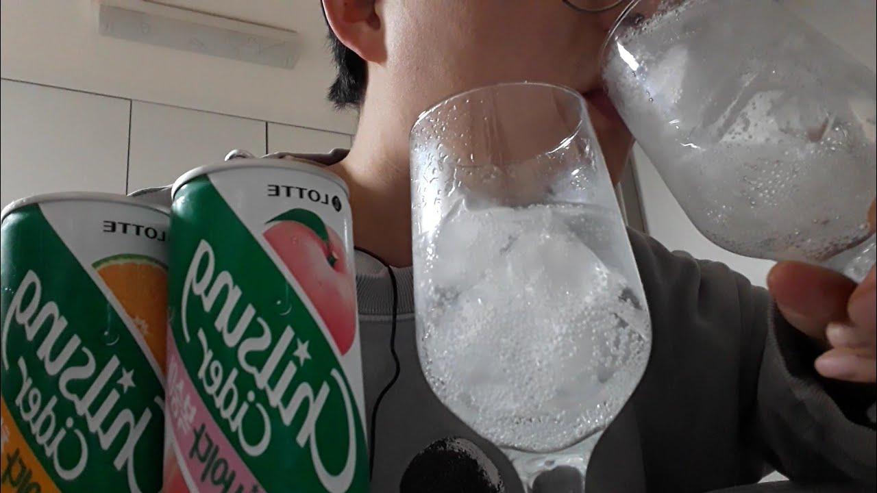 시원하게 청귤, 복숭아 사이다 음료수 먹방 cider drink mukbang
