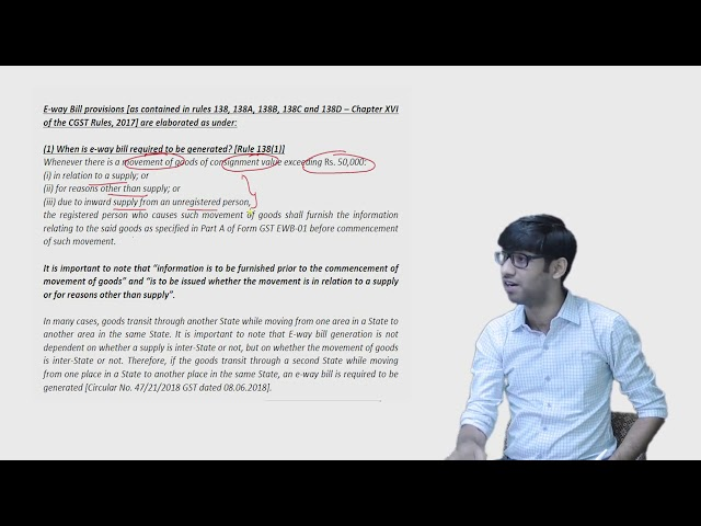 CA Final & IPCC / Inter - E Way Bill Full Lecture (IDT - GST) for May19 by CA Vinesh Savla