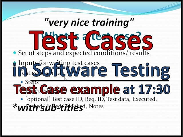 Manual Testing Training - What is Test Case - Example - YouTube
