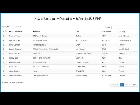 How to Use Jquery Datatable with AngularJS & PHP | Webslesson