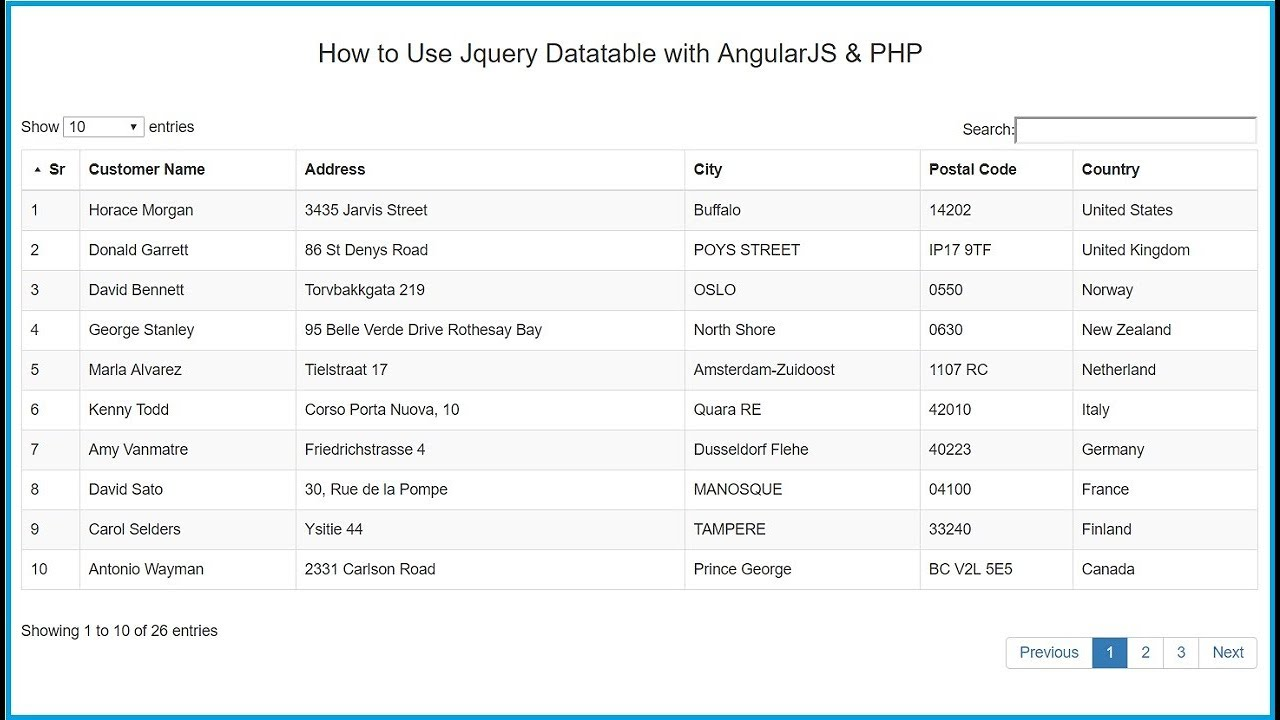 How to Use Jquery Datatable with AngularJS & PHP
