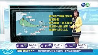 山竹颱風增強 路徑變化週四明朗| 華視新聞 20180910