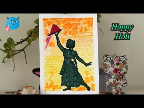Download How To Draw Scene Of Holi Festival Drawing For Kids With