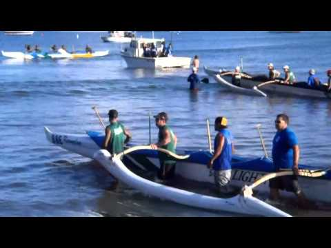 Canoe Race Start: Hanalei Pavilion to Port Allan, Kauai, Hawaii, via Napali Coast