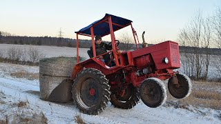 Tractor T 25 Transporting Hay Roll (1080p)