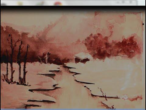 Acuarela paisaje nevado youtube - Paisajes nevados para pintar ...