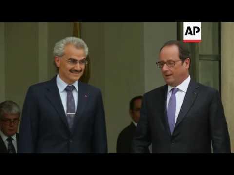 Saudi Prince Alwaleed bin Talal meets Hollande