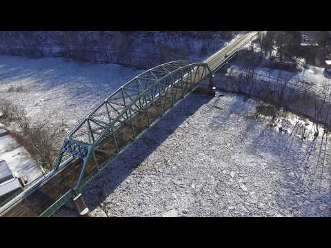 phantom 3 drone, flying above leechburg bridge and kiski ice jam