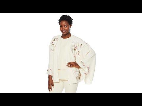 DG2 by Diane Gilman Embroidered Kimono. http://bit.ly/2WCYBow