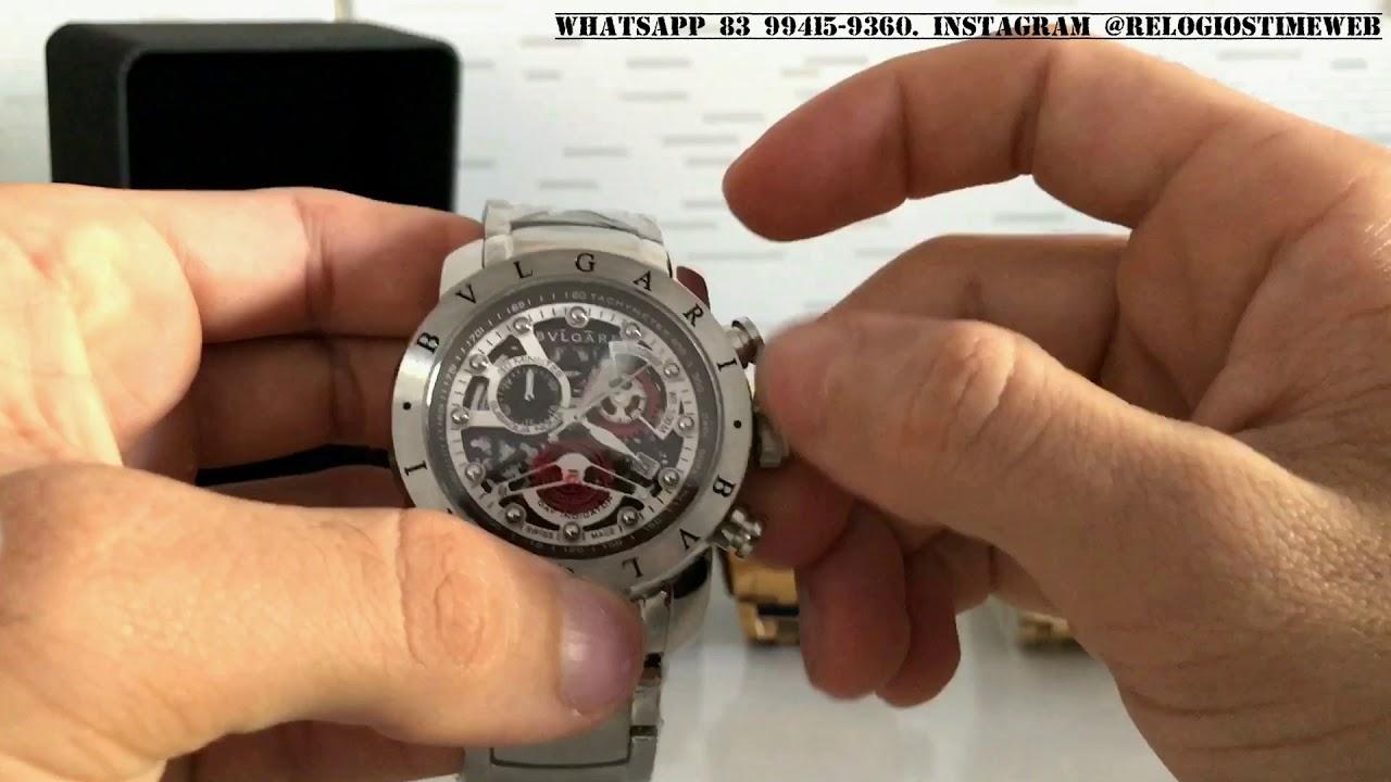 32a9de7524a Review Relógio Bvlgari prata esqueleto lançamento com máquina cintzen