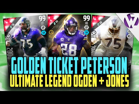 Madden 16 GOLDEN TICKET ADRIAN PETERSON!! + ULTIMATE LEGEND JONATHAN OGDEN & DEACON JONES
