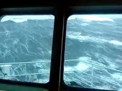Monster waves in the North Sea almost capsize the ship!!