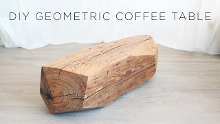 Chainsaw Carved Geometric Wood Coffee Table