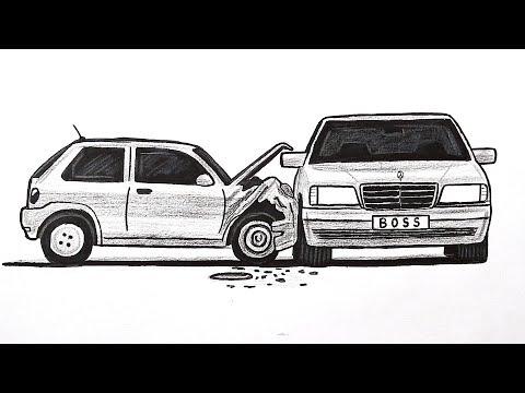 Как нарисовать Машину BOSS Mercedes Benz W140