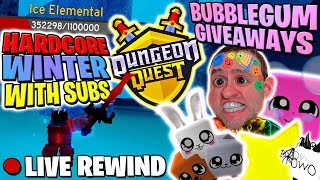 DUNGEON QUEST ⚔ Hardcore Leveling SUBS | Bubblegum Giveaway Update 19 🔴 Roblox LIVE Rewind