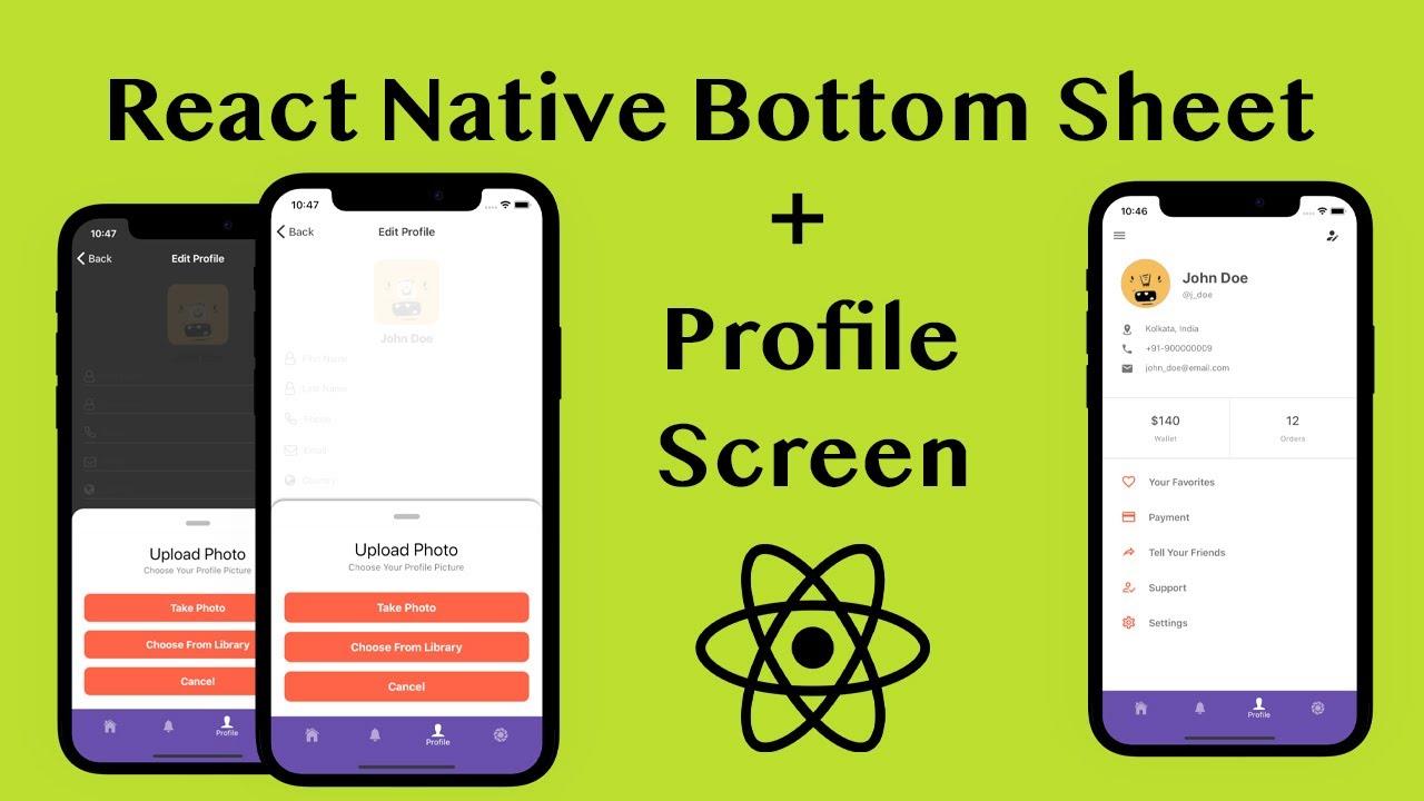 React Native Bottom Sheet Tutorial with Profile Screen