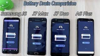 Samsung Galaxy A6 Plus (18) Vs J6(18) Vs J7 Duo(18) Vs J7 Max Battery Drain Comparision !! HINDI