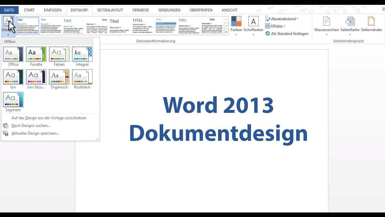 Word 2013: Dokumentdesign - YouTube