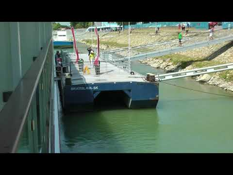 Viking Danube Waltz cruise passenger re-embarking Viking Ingvi at Bratislava, Slovakia