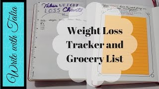 Bullet Journal Weight Loss Tracker and Grocery List