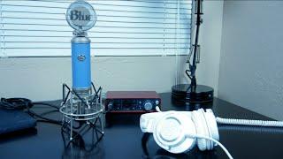 my audio setup blue bluebird focusrite scarlett 2i2 audio technica ath m50x