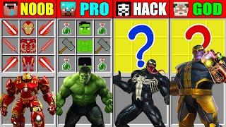 Minecraft NOOB vs PRO vs HACKER vs GOD IRONMAN HULK VENOM THANOS CRAFTING SCP CHALLENGE Animation