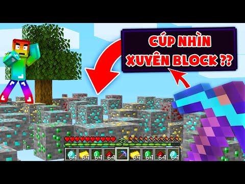 Minecraft, Nhưng Sở Hữu Cây Cúp Nhìn Xuyên Tường Vip Nhất! Noob Đào Kim Cương Siêu Dễ Nhờ Cây Cúp ??