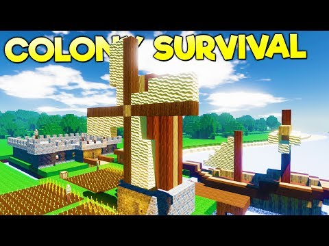 OUR MASSIVE WINDMILL FOR THE FARMS! Dungeon Mine Entrance Crafted - Colony Survival Gameplay