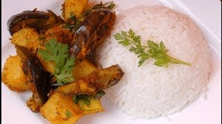 Sukha Aloo Baingan - Eggplant And Potatoes Fry - By Vahchef @ Vahrehvah.com