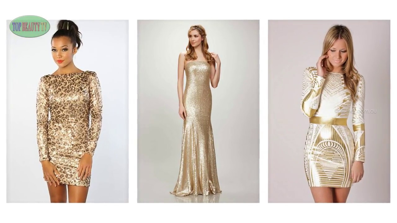 Top Gold Sequin Dress, Sequin Party Dresses For Women