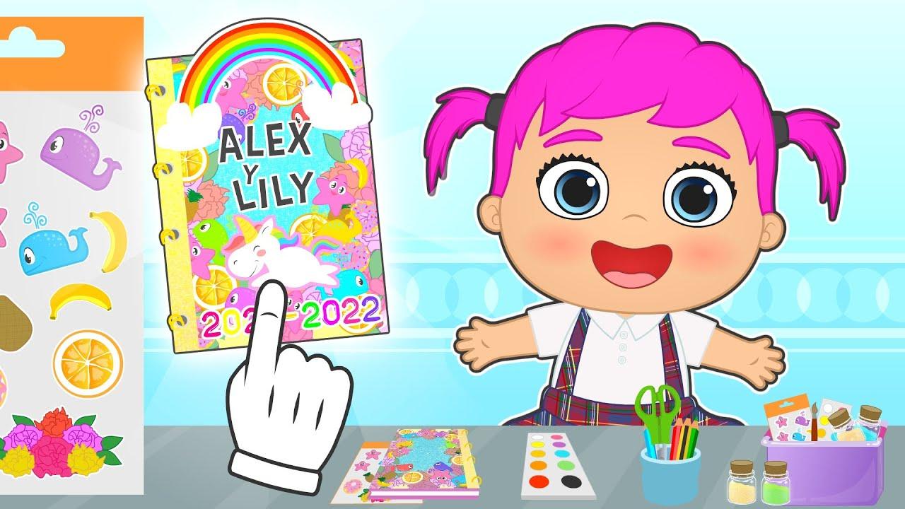 BEBÉS ALEX Y LILY 🎨📗 Aprenden a decorar la Agenda Escolar