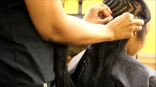 Deep side part Bobbed sew in BRAID PATTERN