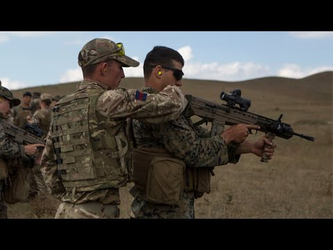 US Marines and British Soldiers Swap Weapons   Agile Spirit 19