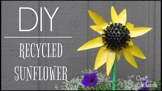 Recycled Sunflower Garden Art