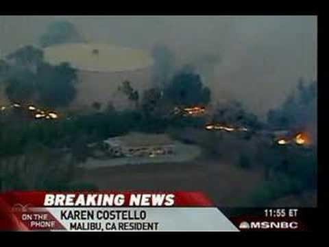 Wildfire ravages Malibu area  9.00Am Est 11/24/07