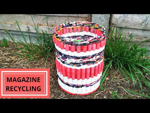 How to make a magazine basket || Paper woven basket||magazine recycling|| Iris Craft Corner 45