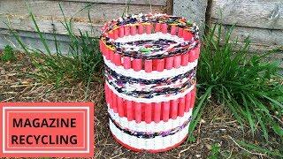 How to make a magazine basket || Paper woven basket||magazine recycling|| Iris Craft Corner 45
