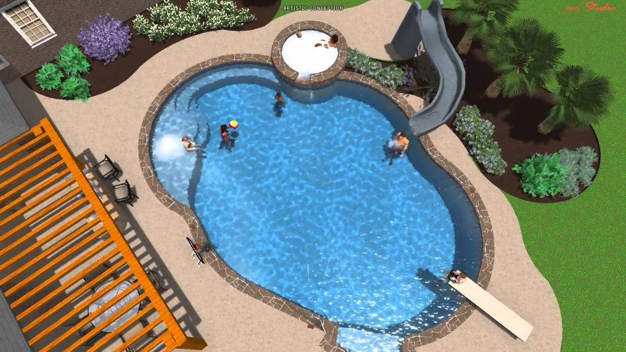 Pool studio 3d swimming pool design youtube for Sports pool designs