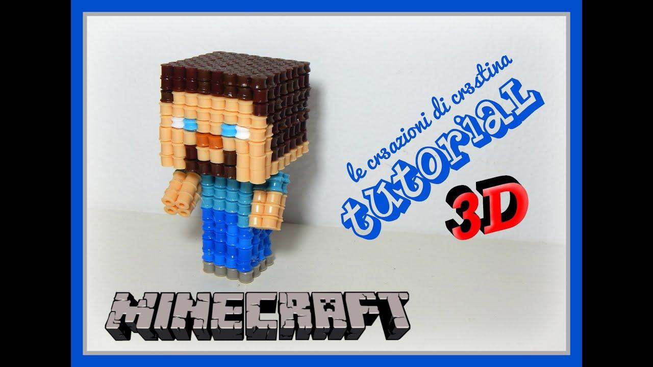 Tutorial Steve Minecraft In 3d Con Perline Hama Beads Midi