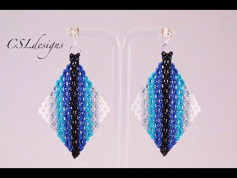 Micro macrame wavy diamond earrings