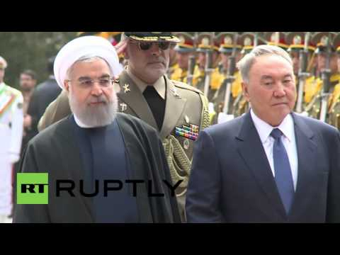 Iran: Rouhani welcomes Kazakh Pres. Nazarbayev with full military honours