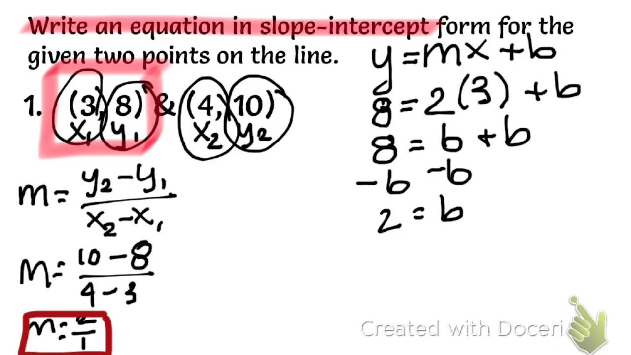 3.6 Day 4 Writing Equations in Slope-Intercept Form given Two ...